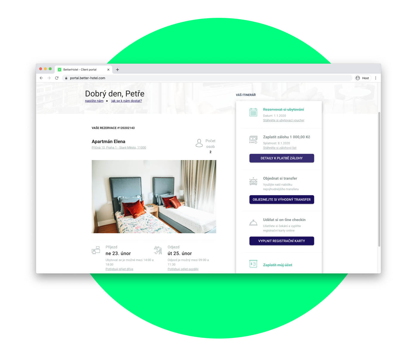 Guest experience portal with online check-in